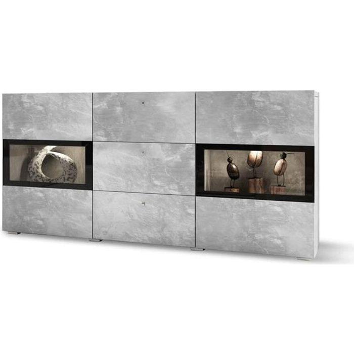 Commode buffet BAROS avec 2 portes et 3 tiroirs béton clair