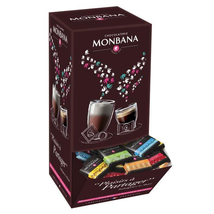 150 carrés de chocolat noir MONBANA, chocolat noir pures origines, Chocolat noir du Ghana, d'Equateur, du Costa Rica, de Papouasie e