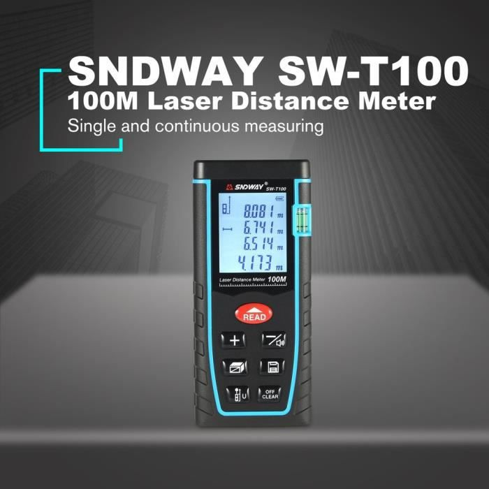 SNDWAY Télémètre laser 100M Télémètre laser télémètre métro trena laser ruban à mesurer règle outil de roulette