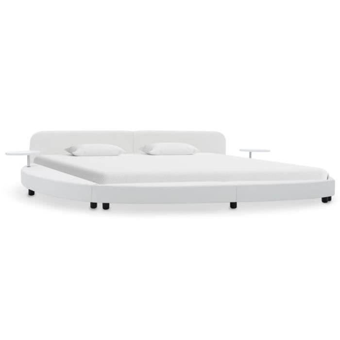 Cadre de lit Style Industriel Blanc Similicuir 180 x 200 cm