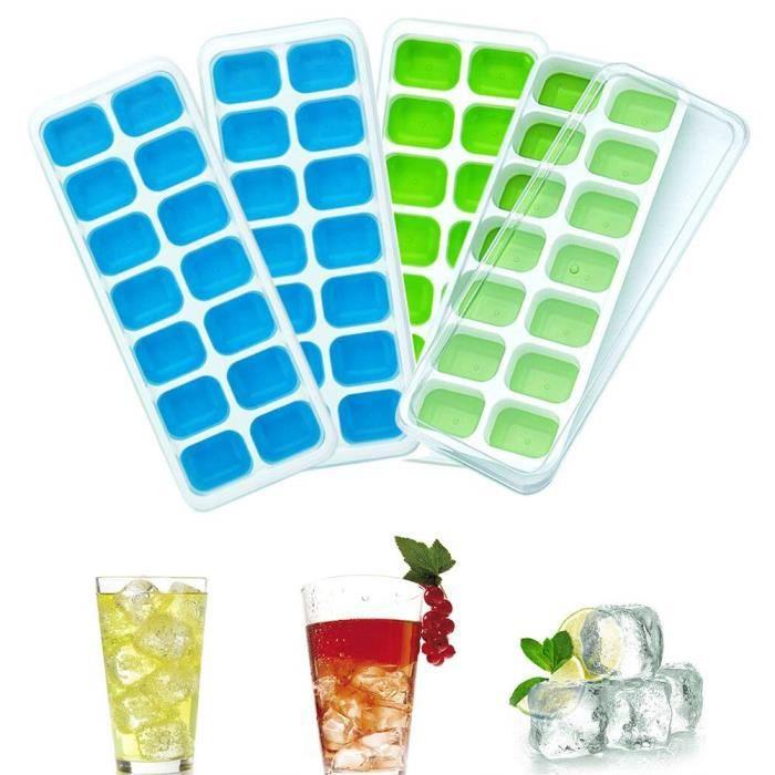 Set de 4 Bac à Glaçons avec Couvercle Moule à Glaçons pour l'eau Cocktails Whisky Aliments Ice Cube de 14 Compartiment Glaçons Boîte