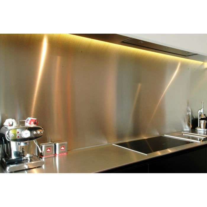 Cr dence en inox bross 75 cm x 80 cm de 1 5mm achat for Plaque inox alimentaire