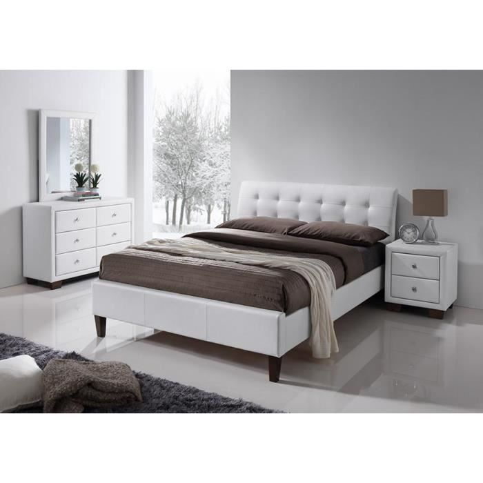 lit simili blanc avec t te de lit samara 160 x 200 achat vente structure de lit lit simili. Black Bedroom Furniture Sets. Home Design Ideas