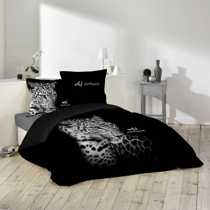 housse de couette 220x240 100 coton leopard noir 2. Black Bedroom Furniture Sets. Home Design Ideas