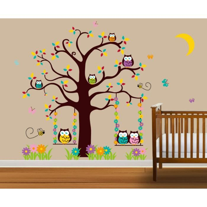 stickers muraux enfant l 39 arbre de hibou achat vente stickers cdiscount. Black Bedroom Furniture Sets. Home Design Ideas