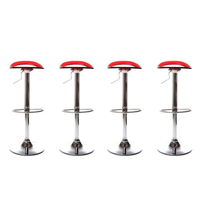 lot de 4 tabourets de bar plasse rouge achat vente tabouret de bar plexiglas m tal cdiscount. Black Bedroom Furniture Sets. Home Design Ideas