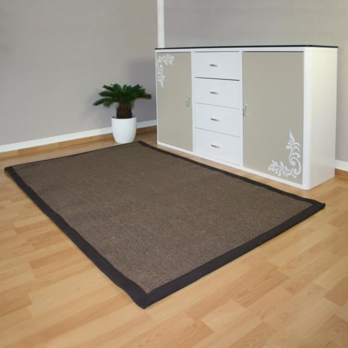 tapis de sisal fibre naturelle brun fonc 180 x achat vente tapis cdiscount. Black Bedroom Furniture Sets. Home Design Ideas