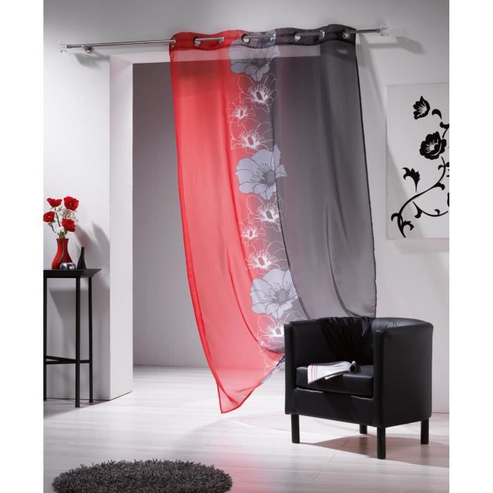 voilage oeillets 140x240cm maeva rouge noir achat. Black Bedroom Furniture Sets. Home Design Ideas