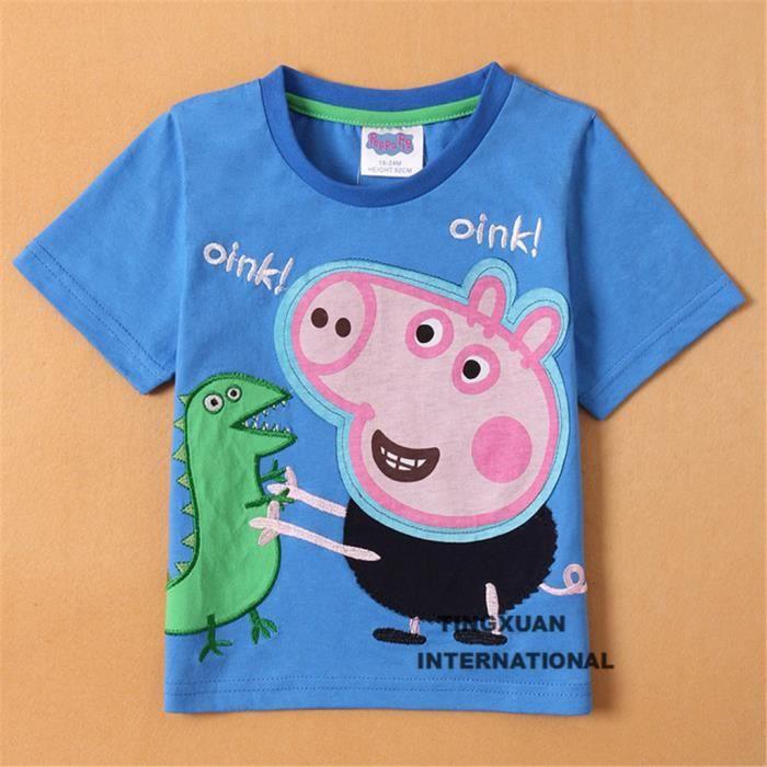 Peppa Pig Wutz T-Shirt Shirt Manches Courtes Shirt Fille Volant Bleu