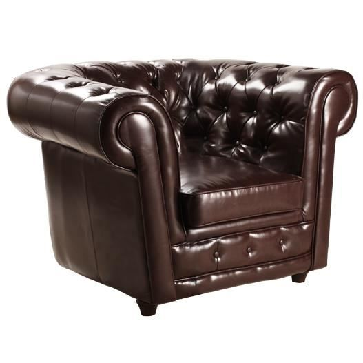 Fauteuil chesterfield cuir recycl marron achat vente fauteuil cuir bois - Fauteuil club chesterfield ...