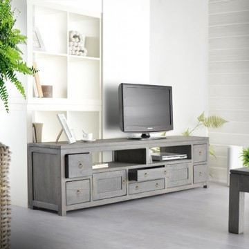 meuble tv en pin gris 180 bello. Black Bedroom Furniture Sets. Home Design Ideas