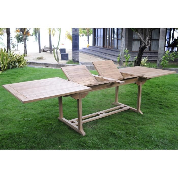 Table de jardin XXL en teck brut - double rallonge papillon 200-300 ...