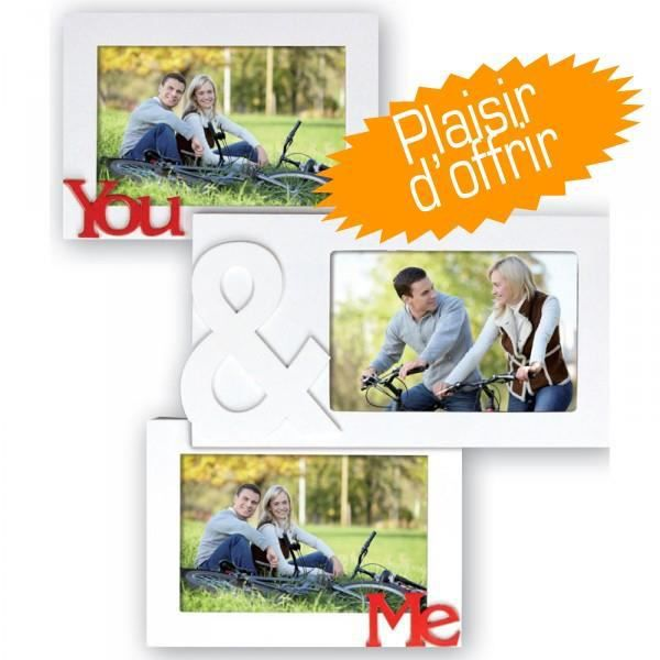 cadre photo you and me pour 3 photos 10x15 cm achat vente cadre photo cdiscount. Black Bedroom Furniture Sets. Home Design Ideas