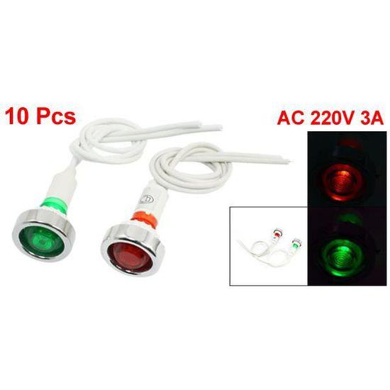sourcingmap/® Signal 6pcs AC 12V 20mA orange vert rouge Voyant dalimentation Pilot Light Lamp