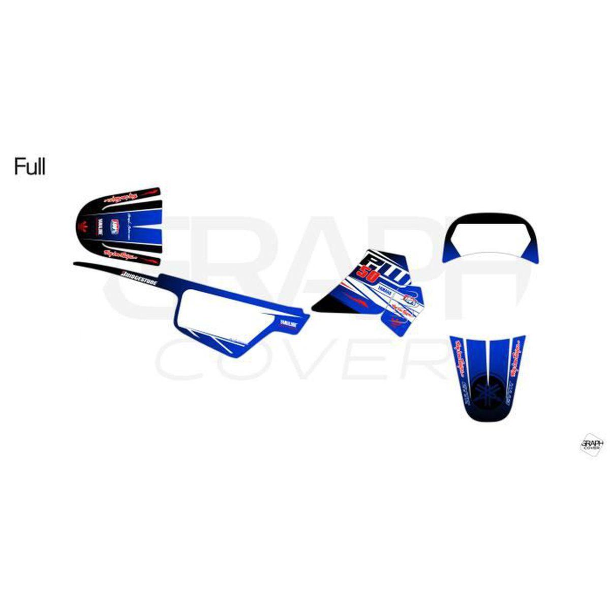 4 MINIS PLAQUES OFFERTES KIT Deco Moto Cross Yamaha PW 50 Factory Bleu Rouge