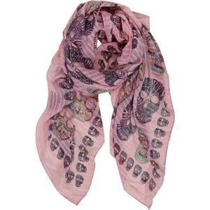 ECHARPE - FOULARD Foulard viscose motif têtes de mort fond rose, 180