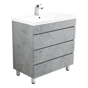 SALLE DE BAIN COMPLETE Meuble salle de bain Via 80 Aspect Béton à poser a