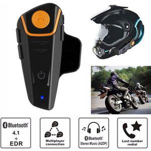 INTERCOM MOTO QTAE6 Intercom pour Casque Moto 1000M / Étanche Bl