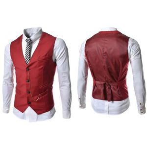 gilet hommes slim fit costume de mariage vest r rouge achat vente gilet de costume. Black Bedroom Furniture Sets. Home Design Ideas