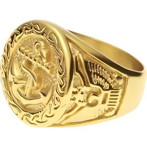 BAGUE - ANNEAU Bague pour homme en or jaune 18 carats avec motif