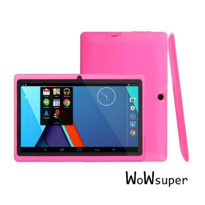 rose 7'' tablette tactile bluetooth pour enfant Q88