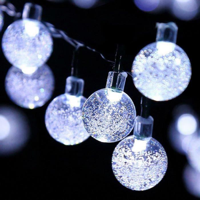 Guirlande Lumineuse Solaire 50 LEDS lumières de ficelle ampoules de boule Décoration de fête de mariage de jardin extérieur blanc