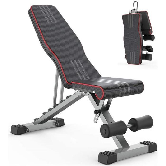 Banc de Musculation Pliable Complet Multifonction Banc D'entraînement de Remise en Forme Inclinable 0 - 180°