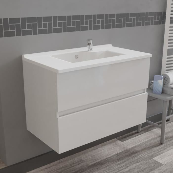 Caisson simple vasque ROSALY 80 - Blanc brillant