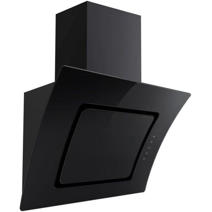Hotte aspirante PKM S2-60ABTZ noire avec éléments en verre