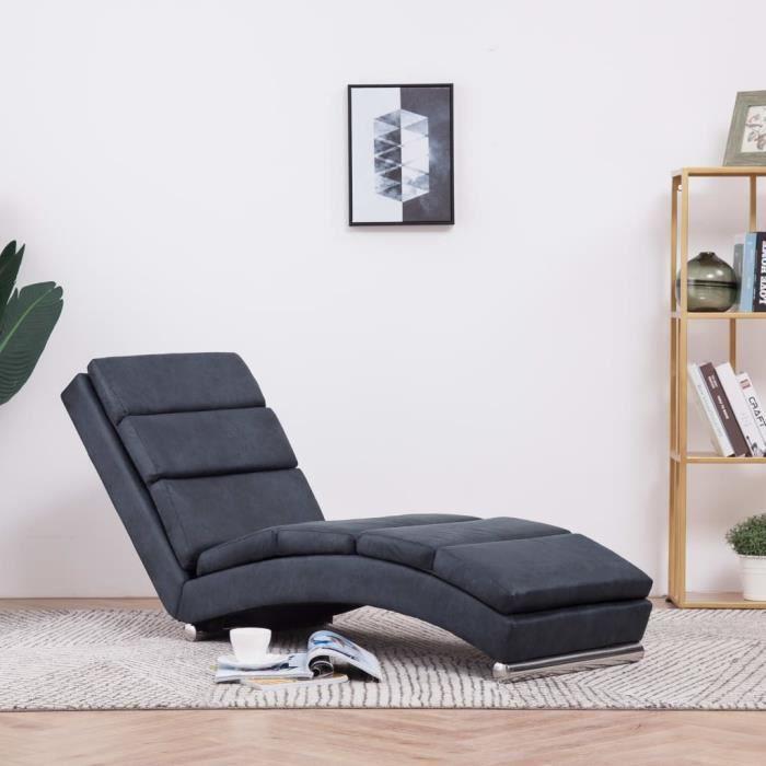 CHEZ-5299Parfait Chaise longue Méridienne Scandinave & Confort - Chaise de Relaxation Fauteuil de massage Relax Massant Gris Similic