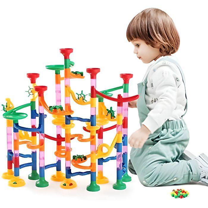 circuits de billes, 133 pcs labyrinthe billes toboggan à billes pour enfant jeu de construction avec billes pour enfant 3 ans+