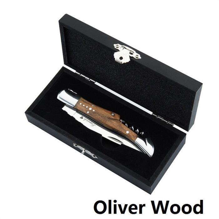 Couteau à vin de Style Laguiole tire-bouchon en acier inoxydable ouvre-bouteille de vin - Modèle: Oliver Wood handle - WMKPQA11210