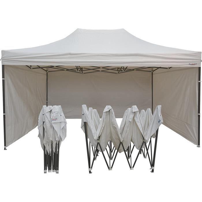 Tonnelles de camping France-Barnums - Tonnelle Pliable - Barnum Tente Pliante acier 3mx4,5m blanc avec Pack Côtés 326237