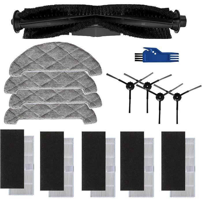 TeKeHom Kit d'accessoires pour Ultenic D5-D5s, 4 brosses latérales, 1 brosse à rouleau, 4 chiffons de serpillière, 5 filtres p,273