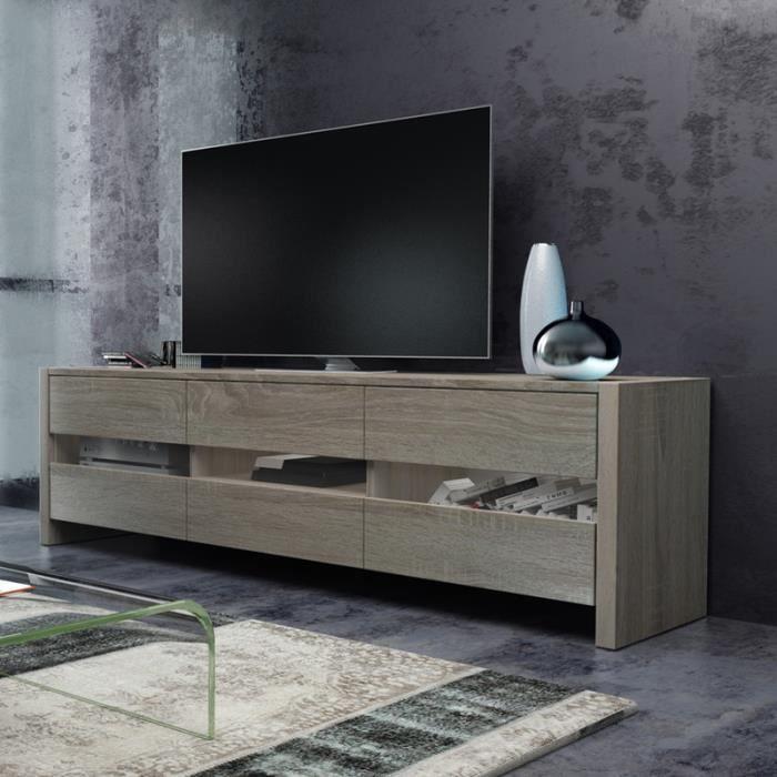 Meuble tv / Meuble de salon - INCHEL - 139 cm - effet chêne - portes vitrées - sans LED - style moderne