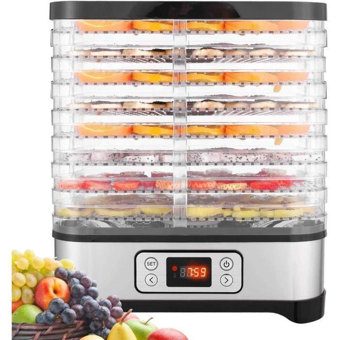 COOCHEER Déshydrateur Aliment 8 Plateaux, Déshydrateur de Légume de Fruit avec Minuterie et Réglages de Température, écran à LED, 40