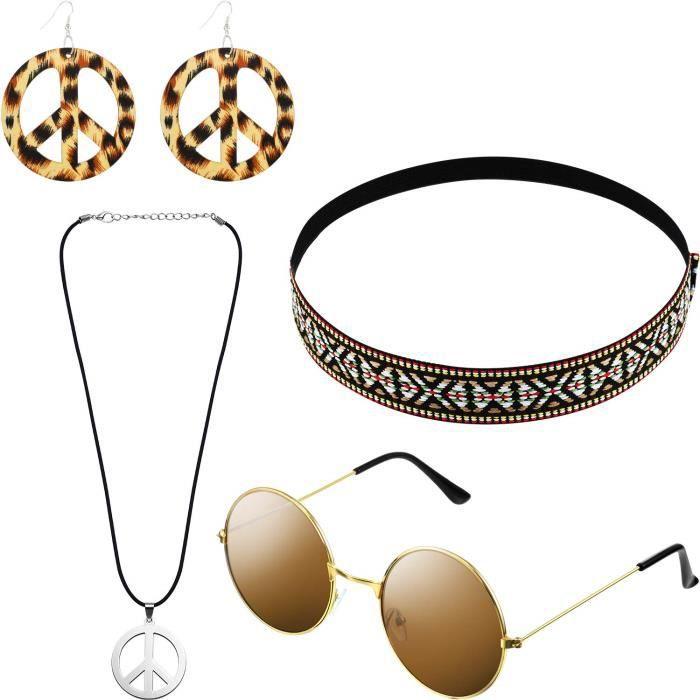 Hicarer Ensemble de Costume Hippie Comprendre Lunettes de Soleil, Bandeau Cheveux, Collier Signe de la Paix et Boucle d'Oreille (