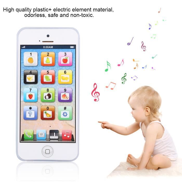 Blanc1x Jouet téléphone portable pour enfant iPhone apprentissage éducatif jouet -YEA