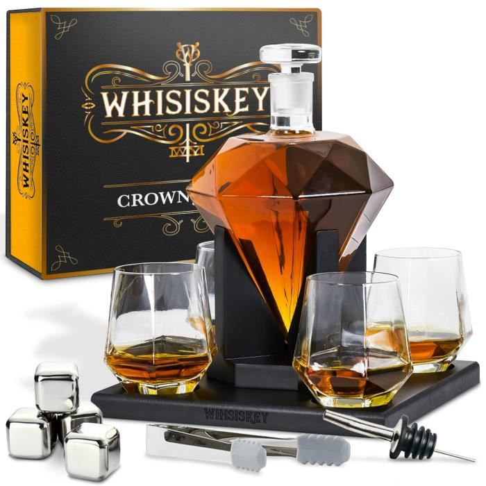 Whisiskey® Carafe Whisky - Diamant - 900 ml - 4 Verre à Whisky, 4 Pierre à Whisky, Bec Verseur - Vin Carafe Decanter - Cadeau homme