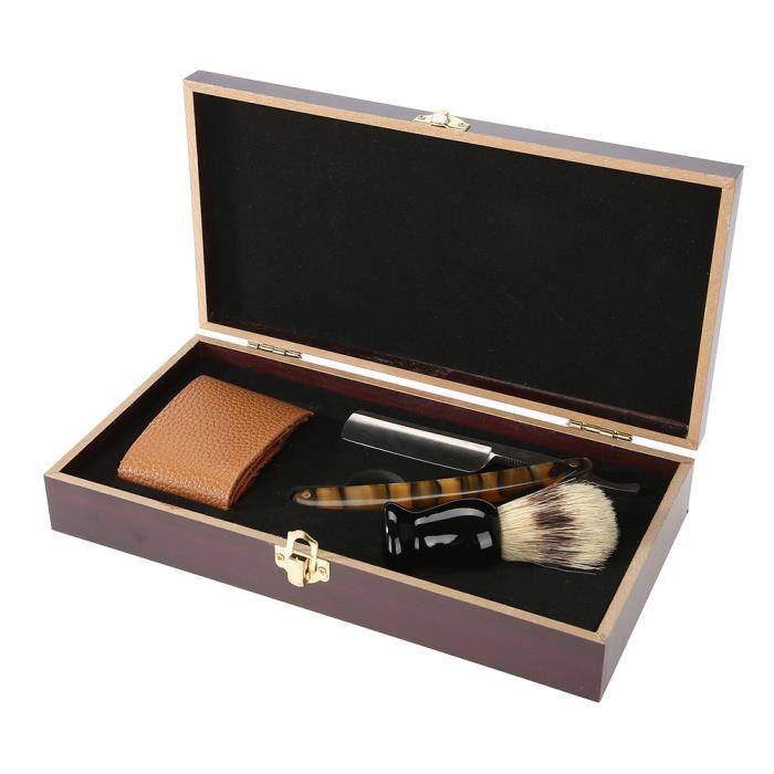 Sonew Set de rasage pour hommes Kit de rasage de barbier rasoir manuel droit brosse de rasage affûtage boîte en bois Strop