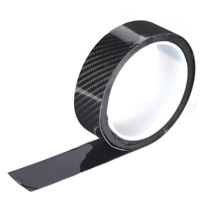 Fafeicy film en fibre de carbone Autocollant anti-rayures de protection de bord de porte de voiture en fibre de carbone noire (3 cm