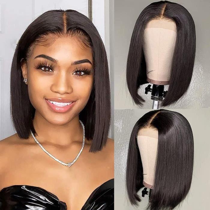 Perruque Lace Frontal Naturelle Courte Bob Lisse Perruque Bresilienne Synthétique Lace Wigs Afro pour Femmes Noires Lace .