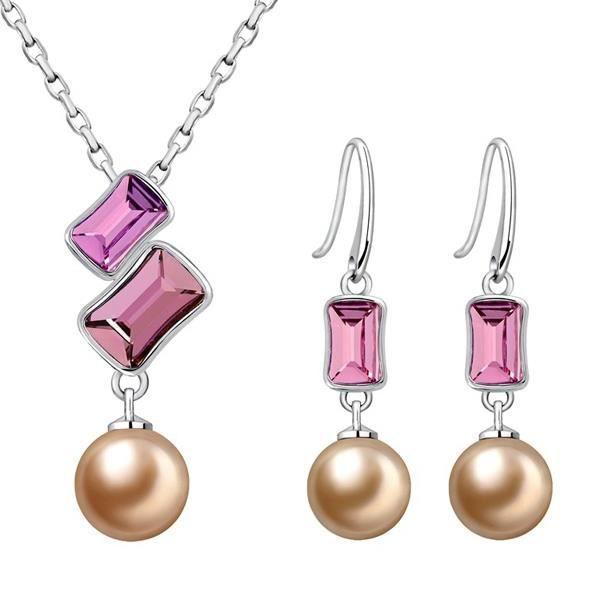Parure Perle et Cristal de Swarovski Elements Rose et Plaqué Rhodium