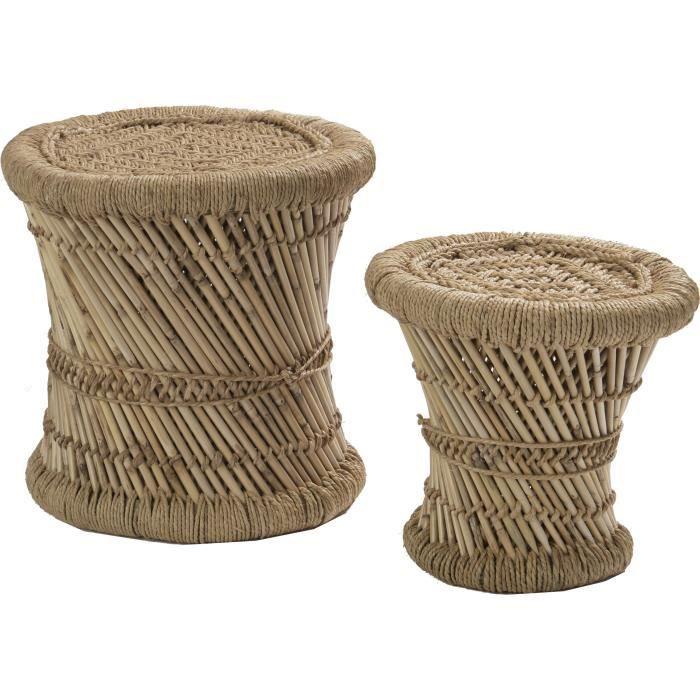DEKO & CO Set de 2 tabourets en bambou - Ø30-38 cm - Beige