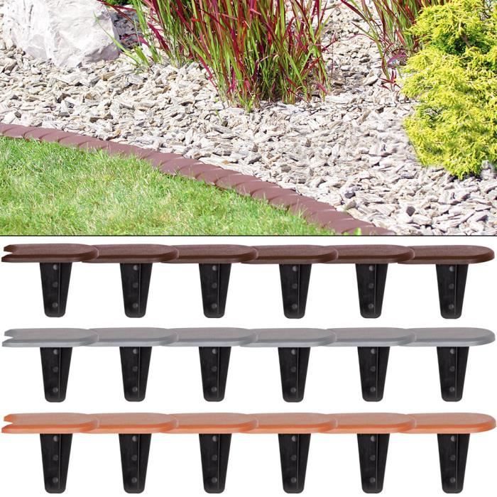 4x Bordures de jardin - 15,2m de Bordure de jardin Marron - Délimitation Pelouse Parterre Massif Fleurs Plante – Jardin