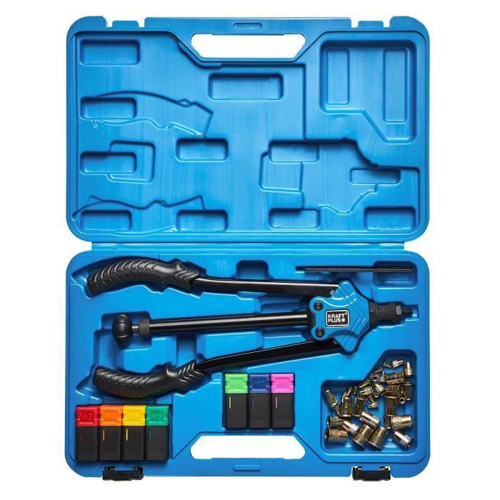 KRAFTPLUS® K.105-2411 Jeu de pince à levier pour écrous rivets - Riveteuse - M3 - M12 - 44 pcs