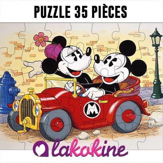 Puzzle 35 Pièces Minnie et mickey mouse car
