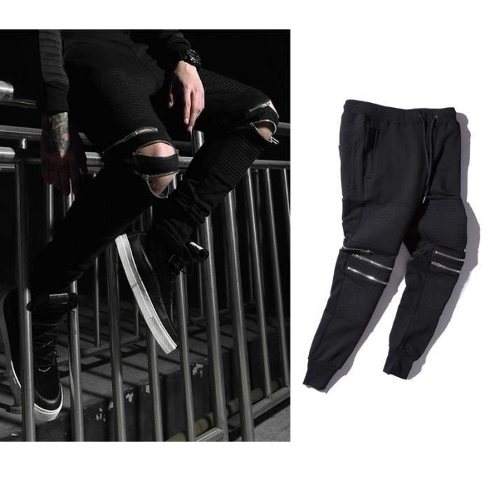 Pantalon de sport Homme Marque a la mode en baggy Vêtement Masculin - Noir