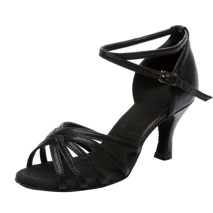 Femmes mode danse rumba valse bal salle de bal latine salsa danse sandales chaussures Noir
