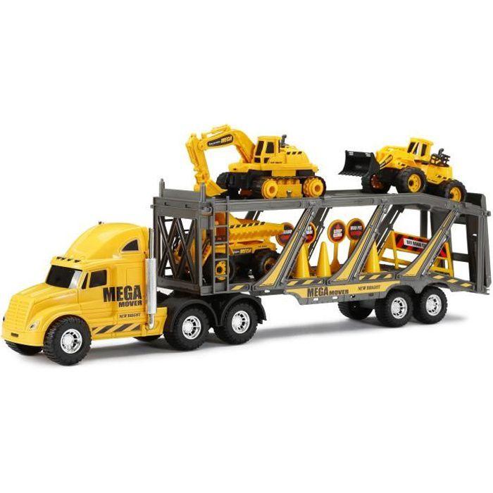 NEW BRIGHT - Camion transporteur engins de chantier + accessoires roues libres